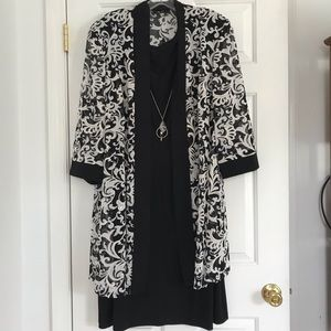 Roz & Ali Black Dress with White Paisley Cardigan